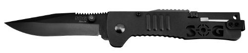 SOG Specialty Knives and Tools SJ-32 SlimJim 3.18-Inch Assisted Folding Knife with Reverse Bayonet Pocket Clip, Tactical Black Finish, Outdoor Stuffs