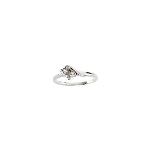 Beautiful White gold 14K Unblossomed Rose Chasity Ring - Unblossomed Rose Gold