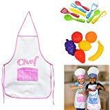 LJIF Girl Kids Cooking Fun Kids Chef Hat Aprons Great for Playing playset Kitchen Play Food Utensils & Pot Set Bundle of 5