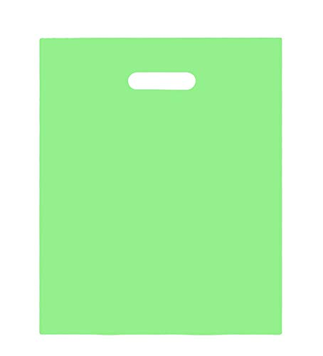 100 Merchandise Bags 9×12 Green, Die Cut Handles, No Gusset, Strong, Durable, and Tear Resistant Bags Perfect for Retail, Boutiques or Events
