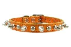- Metallic Orange Spiked and Studded Dog Collar (12