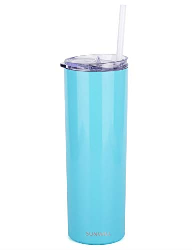 SUNWILL Straw Tumbler Skinny Travel Tumbler with Lid, Vacuum Insulated Double Wall Stainless Steel 20oz for Coffee, Tea, Beverages, Seafoam -