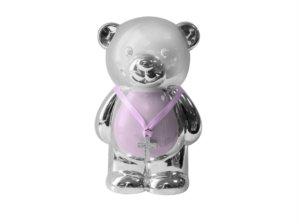 Christening Gift Silver Plated Pink Enamelled Teddy Money Box by Leonardo