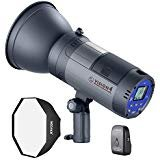 (Neewer Vision 4 300W Li-ion Battery Powered Outdoor Studio Flash Strobe (700 Full Power flashes with 2.4G System, Trigger included), Bowens Mount with Softbox Kit for Video Location Photography)