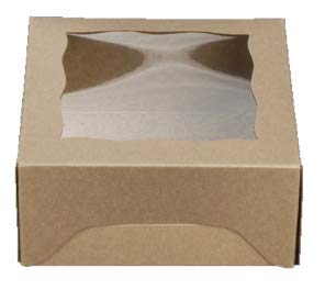 (New No Fold Pop Up Style Natural Brown Bakery Box with Window 5x5x2.5 inch 25 Pack Cupcake Boxes, Gift Box, Wedding, Party Favor, Donut, Pie, Cookie Boxes )