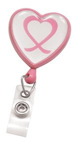 Pink Heart Shaped Badge Reel w/ Domed Awareness Label by Specialist ID (Sold (Heart Shaped Badge Reel)