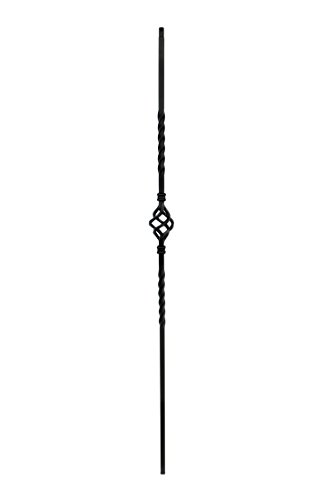 "Iron Balusters - Single Basket - Hollow - 44"" Tall - 1/2"" Square - Box of 10 (Satin Black)"