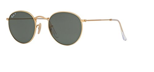 (Ray Ban RB3447 ROUND METAL 112/58 50M Matte Gold/Green Polarized Sunglasses For Men For Women)