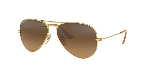 Ray-Ban RB3025 Aviator Classic Polarized Sunglasses, Matte Gold/Polarized Brown Gradient, 55 mm