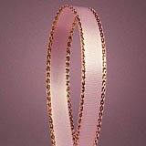 """Light Pink Satin Ribbon with Gold Edges, 3/8"""" X 50Yd"""