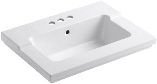 KOHLER K-2979-4-0 Tresham One-Piece Surface and Integrated Bathroom Sink with 4-Inch Centerset Faucet Drilling, White by Kohler