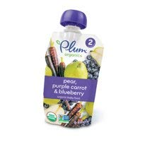 6 Poches of Plum Organics Stage 2 Pear, Purple Carrot & Blueberry, 4oz ea