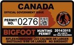 "Canada Bigfoot Hunting Permit 2.4"" x 4"" Decal Sticker"