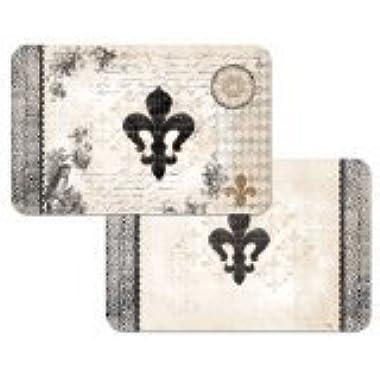 French Fleur De Lis Reversible Washable Vinyl Placemats Set of Four