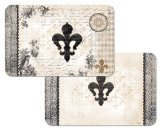 French Fleur De Lis Reversible Washable Vinyl Placemats Set of Four