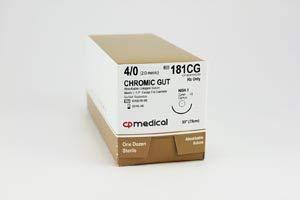 (CP Medical Chromic Gut Natural Absorbable Suture, 4/0, Chromic Gut, Beige, 30