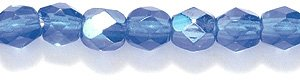 Preciosa Czech Fire 4 mm Faceted Round Polished Glass Bead, Medium Sapphire Aurora Borealis Finish, 200-Pack