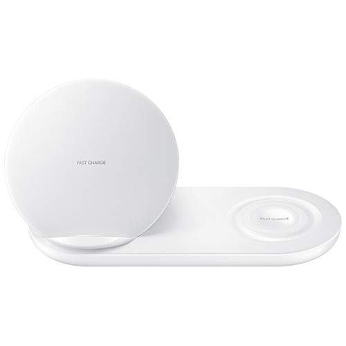 SANNYSIS 2 in 1 Fast Charging Wireless Charger Pad for Samsung Phone/Watch S2/S3/42mm/46mm (White)