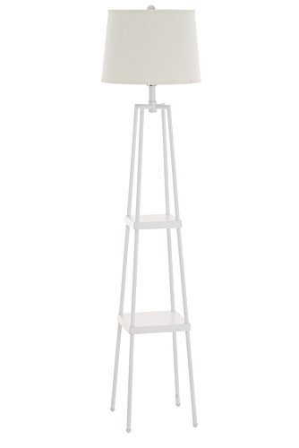 Catalina Lighting 19305-001 Transitional Distressed Iron Metal Etagere Floor Lamp with Shelves, Ivory Beige Linen Shade and 3-Way Switch, 58