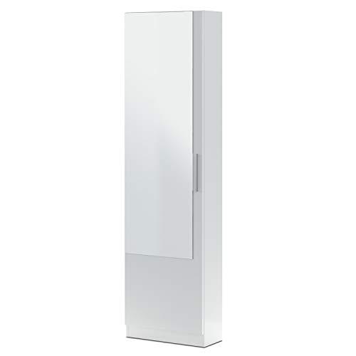Habitdesign Armario Zapatero, Zapatero con Espejo, Modelo Kristal, Acabado en Color Blanco Artik, Medidas 50 cm (Ancho) x 180 cm (Alto) x 22 cm (Fondo)