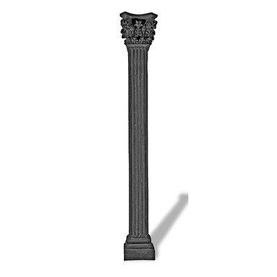 Amedeo Design ResinStone 1800-23C Square Capital Fluted Column, 9L x 9W x 72H, Charcoal