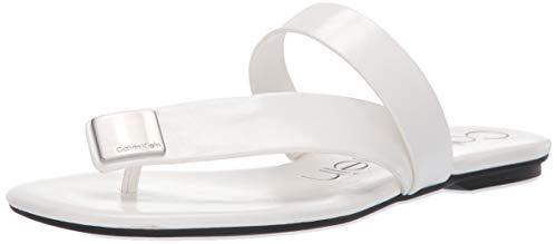 Price comparison product image Calvin Klein Women's SAURIN Flat Sandal White 9.5 M US