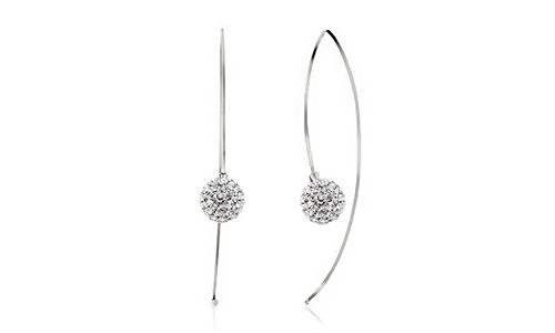 - Womens Crystal Ball Pull Through Threader Earrings in Sterling Silver (White)