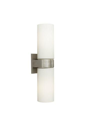 White Satin Nickel Compact - Tech Lighting 700WSHUD2WS, Hudson Wall, 2-Light Fixture, White/Satin Nickel
