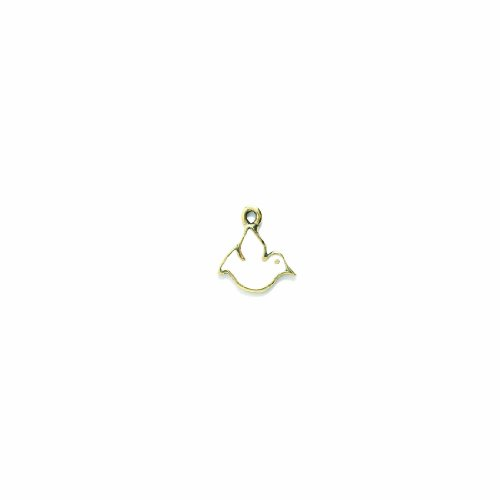 Shipwreck Beads Pewter Epoxy Dove Charm, Antique Gold/White, 14 by 16mm, - White Charm Dove