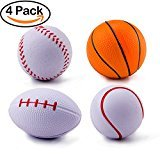 #4: BeYumi Mini Sport Balls, Tennis Ball, Basketball, Football, Baseball Sport Themed Balls Toys for Kids and Adults, Squeeze Foam Ball for Stress Reliever, Party Favor Toy
