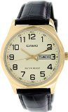 Casio #MTP-V00GL-9B Men's Standard Analog Gold Tone Leather Band Day Date Watch