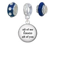 Silvertone Domed All of Me Loves All of You Navy Charm Beads (Set of 3) by Delight Beads (Image #1)