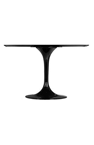 Modern Circular Meeting Table in Black Lacquer
