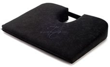 TUSH CUSH Seat Cushion - Small Home Office Car Compu Computer Ergonomic Orthopedic Chair Cushion - Black Velour Fabric by Tush Cush