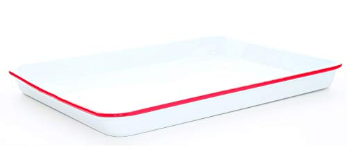 Crow Canyon Home Enamelware Jelly Roll Pan, 16 x 12.25 inches, Vintage White/Red