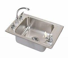Elkay DRKR2517C Lustertone Double Ledge Classroom Sink, Single Bowl, Sink Package, 25