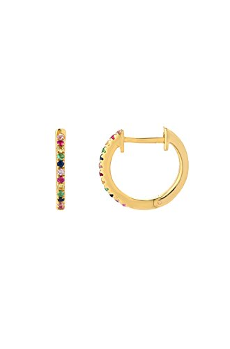 birthstones Rainbow Huggies Earrings, Zoe Lev Jewelry, 14k solid gold, pave diamond