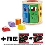 Melissa & Doug Shape Sorting Drum Classic Toy & 1 Scratch Art Mini-Pad Bundle (09041)