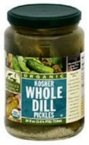 Woodstock Farms Organic Whole Dill Pickle, 24 Ounce -- 6 per case.