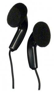 Bulk Disposable Headphones Stereo TT-2 Black Earbuds 25 Pack