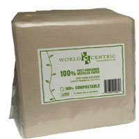 (World Centric's 100% Biodegradable, 100% Compostable 100% PCW 2-PLY Lunch Napkins (Case of 4,500 : 18 Packs of 250 Naps.) )