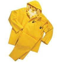 Three-Piece Rainsuit, Jacket/Hood/Overalls, 0.35 mm PVC/Poly, Yellow, 2X-Large
