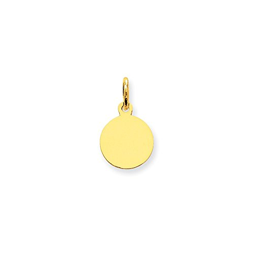 Charm Engravable Disc (14k Yellow Gold Small 1/3inch 0.009 Gauge Circular Engravable Disc Charm (0.7IN long x 0.4IN wide))