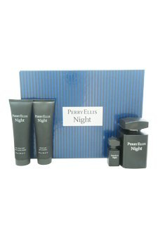 PERRY ELLIS NIGHT by Perry Ellis Gift Set for MEN: EDT SPRAY 3.4 OZ & AFTERSHAVE BALM 3 OZ & DEODORANT STICK ALCOHOL FREE 2.75 OZ