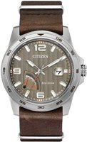Mens-Citizen-Eco-Drive-Power-Reserve-Brown-Leather-Strap-Watch-AW7039-01H