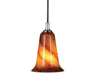 Vaxcel PD30103SN Milano 1 Light Mini Pendant in Satin Nickel with Lava Swirl Gla -