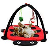 - Tofern Multi-Function Pet Kitten Cat Interactive Activity Soft Fleece Folding Toy Mat Bed Hammock Tent With Hanging Mouse Bell Balls, red