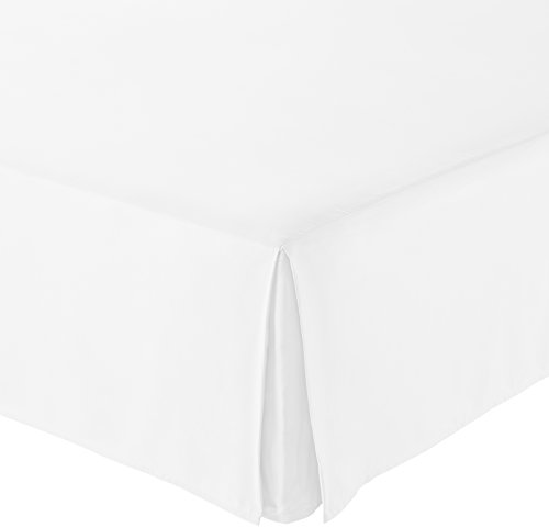 (AmazonBasics Pleated Bed Skirt, Queen, Bright White )