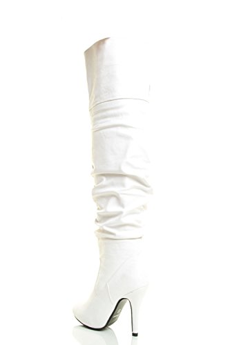 Link Over The White Toe Thigh Stiletto Boot Pointy Knee Womens High Heel Forever fpqwZdaw
