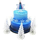 Frozen Themed Birthday Cake (Frozen Queen Elsa Winter Wonderland Themed Birthday Cake Topper Set Featuring Elsa and Decorative Themed)
